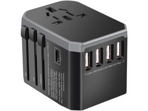 Universal Travel Adapter One International Wall Charger AC Plug Adaptor with 5.6A Smart Power and and 3.0A USB Type-C for USA EU UK AUS (Color: Black)