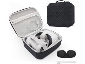 Travel Oculus Quest 2 Carry Case Portable Cover Storage Bag, with VR Lens Cover and Charging Cable Fixed Velcro, Shock and Compression Inside and Outside (Black)