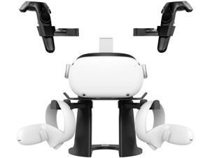 VR Stand, Headset Display Holder and Controller Holder Mount Station for Oculus Quest/Quest 2/Rift/Rift S/GO/HTC Vive/Vive Pro/Valve Index VR Headset and Touch Controllers (Black)