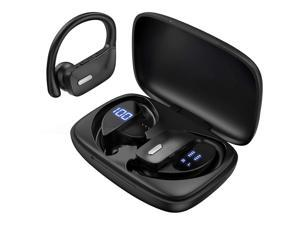 Ture Wireless Earbuds, TWS Bluetooth Headphones 48H Play Back Earphones TWS Deep Bass in Ear Waterproof with Microphone LED Display for Sports Black