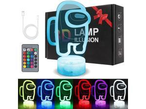 3D Night Light, LED Light Lamp 7 Changeable Colors with Remote Control USB Charge Touch Switch Festival Gifts for Bedroom Party Home Decor