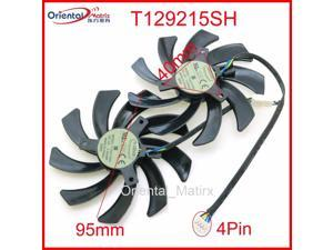 2pcs/lot T129215SH DC12V 0.30A 95mm VGA Fan For Sapphire R9 380 390 4G D5 Graphics Card Cooling Fan