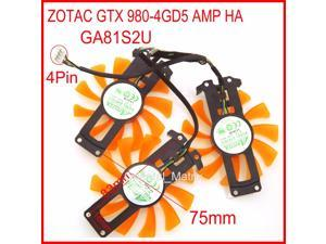 3pcs/lot GA81S2U 12V 0.38A 4Wire 4Pin VGA Fan For ZOTAC GTX 980-4GD5 AMP HA Graphics Card Cooler Cooling Fan