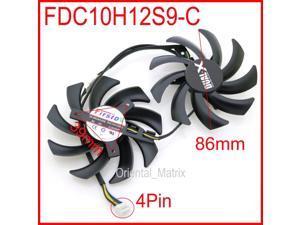 2pcs/lot FDC10H12S9-C 86mm 0.35A 4Pin For XFX R9 270X 280X 290X Graphics Card Cooling Fan