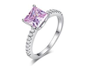 Exquisite Women Wedding Rings 1.5 Ct Fancy Pink Created Diamond 925 Sterling Silver Promise Anniversary RingXFR8246/6