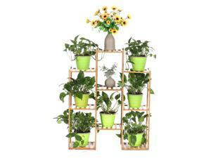 Multi-layer Plant Shelve Floor-standing Potted Plant Rack Thicken Batten Breathable Material for Garden Sets-Type D
