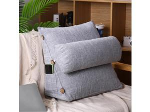 Adjustable Back Cushion Plush Bed Rest Cushion Pillow Detachable Triangle Sofa Bed Office Chair Rest Waist Neck Support-Gray