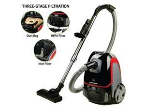 Ovente Electric Canister Vacuum 1400 Watts with Energy Saving Speed Control, 1.5 Meter Crush-Proof Hose and 3 Premium Attachments, Advanced 3 Level Filtration with HEPA Filter, Black (ST1600B)