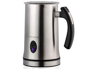 Ovente Electric Double Wall Insulated Non Stick Milk Frother and Steamer Hot & Cold 5 Ounce 10 Ounce Heated Capacity Warmer Whisker for Latte Cappuccino Espresso Coffee Hot Chocolate Silver FR4810BR