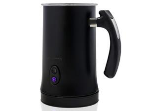 Ovente Electric Double Wall Insulated Non Stick Milk Frother and Steamer Hot & Cold 5 Ounce 10 Ounce Heated Capacity Warmer Whisker for Latte Cappuccino Espresso Coffee Hot Chocolate Black FR4810B