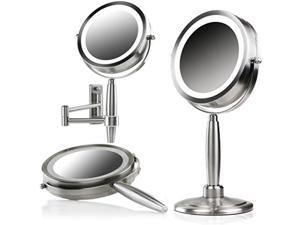 Ovente Lighted Makeup Mirror 8.5 Inch 1X 5X Magnifier 3 IN 1 Wall Mountable Table Top Handheld Three Tone LED 360° Double Sided Circle Large Portable 4AAA Battery Operated Nickel Brushed MFM85BR1X5X