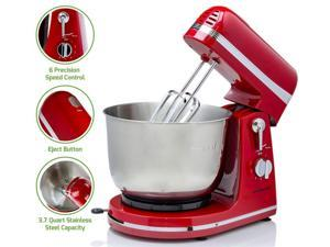 Ovente Electric Kitchen Stand Mixer with 3.7 Quart Portable Stainless Steel Mixing Bowl 6 Speed Control, 300 Watt Power 2 Blender Attachment Beater & Dough Hook Easy for Whip Mix & Blend, Red SM880RI