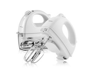 Ovente Portable Electric Hand Mixer 5 Speed Mixing, 150W Powerful Blender for Baking & Cooking with 2 Stainless Steel Chrome Beater Attachments & Snap Clear Case Compact Easy Storage, White HM161W
