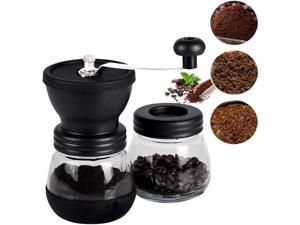 Manual coffee grinder with ceramic burr, with stainless steel handle and silicon concave surface, adjustable manual precision brewing X-2C, upgrade.