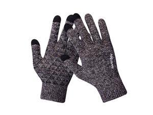 Winter Touch Screen Thermal Knit Gloves Men Women For Smart Phone Brown White