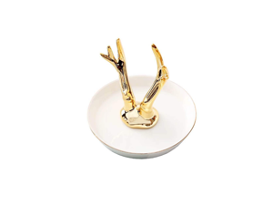 Ceramic Ring Holder Jewelry Dish Organizer Plate Trinket Tray - 1 Gold
