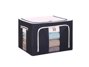 Large Capacity Clothing Box Waterproof And Moistureproof Quilt Receiving Box - Navy Dots Blue 66L(50X40X33)