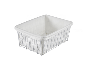 Iron Art Desktop Sundries Receiving Basket Cosmetics Stationery Receiving Frame - White White Lining Cloth