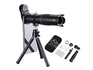 Universal Cell Phone Camera Lens 22X Optical Manual Focus Telephoto Clip Lens Kit with Mini Flexible Tripod