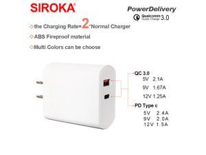 SIROKA- new arrival US Plug PD type-c usb charger QC 3.0 dual usb  fast mobile phone portable  travel charger PD type c for phones for pc