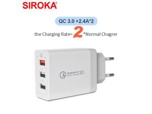 3 USB QC3.0+2.4A fast charging Wall Charger EU plug  portable cellphone travel charger adapter