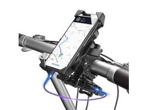 Bike Phone Mount 360° Rotatable Motorcycle & Mountain Bike Phone Holder with Adjustable Handlebar Mount, Silicone Universal Motorcycle Phone Mount Fit for iPhone,Android