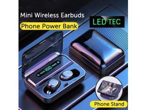 portable mini earbuds stereo surround Hi-Fi wireless earbuds LED digital power display IPX7 waterproof bluetooth headset in-ear earphone as phone holder
