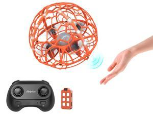 Holyton HT06 Hand-Operated + Remote Control Flying Ball Mini Drone with LED  Light,Orange