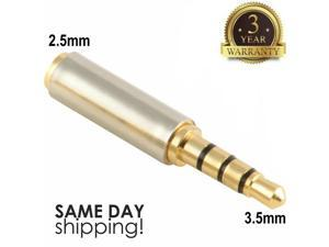 Gold 3.5mm Male to 2.5mm Female Stereo Audio Headphone Jack Adapter Converter