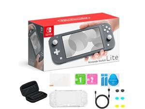 """Newest Nintendo Switch Lite Game Console, 5.5"""" Touchscreen Display, 32GB Storage, Built-in Controllers & Speakers, 3.5mm Audio Jack, Gray, Bundled with Pearlite Tech. 8-in-1 Accessories"""