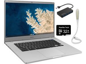 "Samsung 15.6"" Chromebook, Intel Celeron N4000, 4GB RAM 32GB eMMC, Intel UHD Graphics 600, Bluetooth, Chrome OS, Silver, Bundle with Pearlite Tech 32GB Micro SD Card & 4 Port USB 3.0 Hub & USB Light"