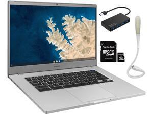 "Samsung 15.6"" Chromebook, Intel Celeron N4000, 4GB RAM 32GB eMMC, Intel UHD Graphics 600, Bluetooth, Chrome OS, Silver, Bundle with Pearlite Tech 16GB Micro SD Card & 4 Port USB 3.0 Hub & USB Light"