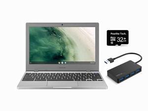 "Samsung Chromebook 4 11.6"" HD Laptop, Intel Celeron Processor N4000, 4GB RAM 32GB eMMC, Gigabit Wi-Fi,Bluetooth, Chrome OS, Platinum Titan, Bundle with Pearlite Tech 32GB SD CARD+USB Hub"