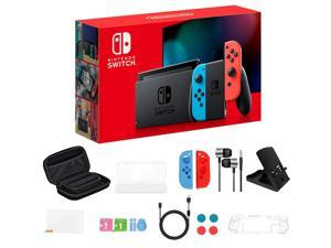 """New Nintendo Switch 32GB Console with Neon Blue and Neon Red Joy-Con, 6.2"""" Touchscreen LCD Display, Built-in Speakers, Bluetooth, Bundled with 19 in 1 Accessories Include Carrying Case, Cover & More"""