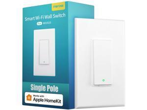 "[Controlled By ""Hey Siri""] meross Smart Wi-Fi Light Switch-2.4Ghz Single Pole, Apple Certified With meross App, Apple HomeKit, Amazon Alexa, Google Assistant, SmartThings, No Hub Required, MSS510HK"