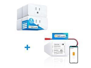 [Bundle Sale Apple Homekit] meross Smart Wi-Fi Garage Door Opener + WiFi Smart Plug Mini 4 Pack