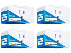 "[Controlled By ""Hey Siri""] meross Smart Wi-Fi Mini Plug 16A - Apple Certified with meross App, Works with Apple HomeKit, Amazon Alexa, Google Assistant, Siri, SmartThings, No Hub Required, 4 - Pack"
