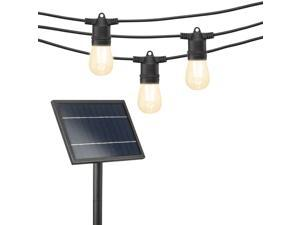 Mr Beams 54Ft Solar Powered LED Outdoor String Lights with S14 LED Bulbs and 24 Hanging Sockets (Bulbs Included), Black