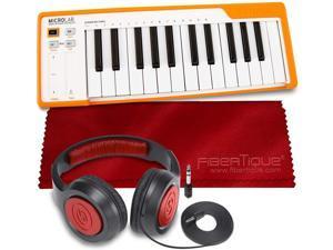 Arturia MicroLab Compact 25-Key USB-MIDI Controller (Orange) + SR360 Over-Ear Dynamic Stereo Headphones & Fibertique Microfiber Cleaning Cloth