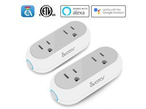 Avatar Controls Smart Capsule Outlet WiFi Plug, Dual 2 in 1 Electrical Socket Compatible with Alexa/Google Assistant/IFTTT, APP Remote Control Timer/ON/OFF Switch, ETL FCC Listed (2 pack)