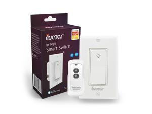 Smart Light Switch with RF Remote Controller WiFi In-Wall Switches Work with Alexa Google Home AvatarControls  App, No Hub Required, Single Pole, Neutral Wire Needed (Upgraded Extra Remote)