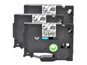 3P Black on Clear 9mm TZ TZe-121 Laminated Label Tape For Brother P-touch 9200PC
