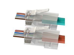 [LINKUP] RJ45 Cat6 Connectors EZ Pass Through Ends | Ethernet Cat 6 Passthrough Solid Plug | UTP Gigabit Round Cable Connector | Platinum Gold Plated High Performance | 55 Pack