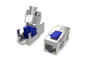 [LINKUP] Cat8 Ethernet Cable Connector (1-Pack) RJ45 Metal Keystone Jack | Die-Cast Field Termination Tool Free |for 2000Mhz 40G S/FTP Shielded LAN Screened Solid 2Ghz Bulk Cable 22AWG-24AWG