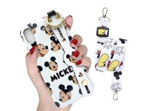 DISNEY COLLECTION Case Compatible with iPhone Xs Max 6.5 Inch,Cute Black Mickey Smiley face Pattern,Wrist Strap and Lanyard Included,Fully Protected Cartoon Design Mobile Phone case