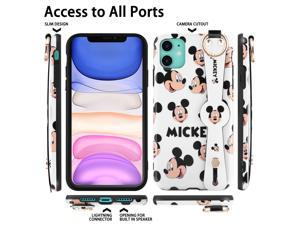 Disney iPhone 11  Case Mickey Mouse 6.1inch, Cute Disney iPhone 11 Case Cartoon Mickey Design Fashion Animal iPhone Case with Short Wrist and Long Lanyards Soft TPU Protective iPhone Case