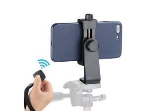 Cell Phone Tripod Adapter Universal Phone Tripod Mount Attachment for Any Size Smartphone Includes Bonus Wireless Shutter Remote for iPhone Samsung Huawei Xiaomi