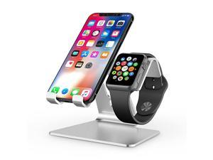 Apple Watch Stand  2 in 1 Universal Desktop Stand Holder for iPhone and Apple Watch Series 654321 and Apple Watch SE Both 38mm40mm42mm44mm Silver