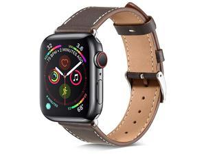 Compatible with Apple Watch Band 42mm 44mm Genuine Leather Replacement Band Compatible with Apple Watch Series 5 4 44mm Series 3 2 1 42mm Ebony Band+ Silver Adapter