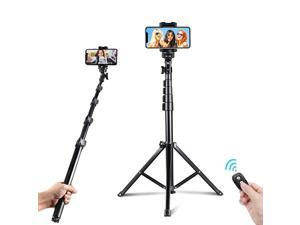 54inch Selfie Stick Tripod Detachable and Extendable Phone Tripod for Cell Phone Compatible with iPhone and Android Phone Includes Wireless Remote Cell Phone Holder and Gopro Adapter